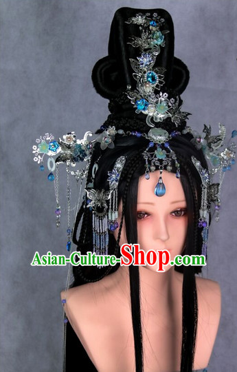 Chinese Ancient Empress or Princess Style Hair Accessories and Long Black Wigs