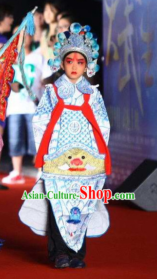 Chinese Traditional General Xiao Sheng Embroidered Costumes and Hat