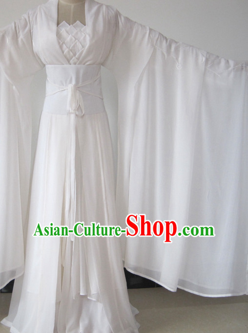 Chinese Ancient Xiao Long Nv Shen Diao Xia Lv White Hanfu Outfits for Women