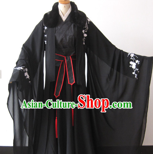 Black Chinese Fur Collar Male Hanfu Garment