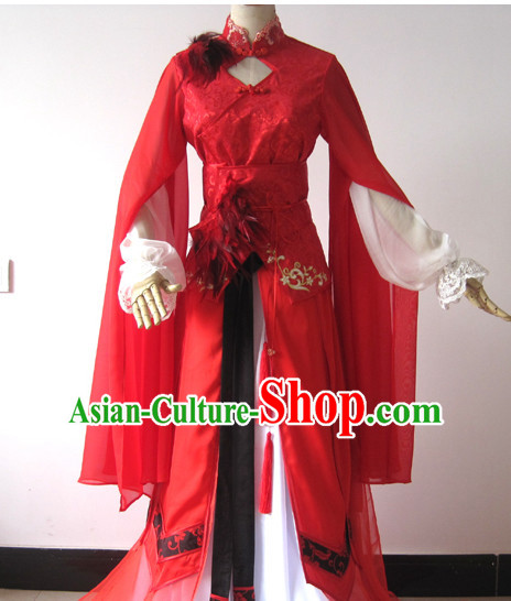 Traditional Chinese Red Bridal Wedding Costumes