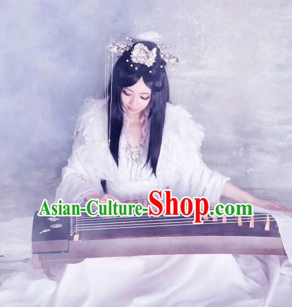 Chinese Classical White Musician Koto Costume Complete Set for Women