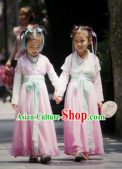 Chinese Ancient Han Dynasty Costumes and Hair Jewelry Complete Set for Kids
