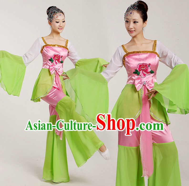 Chinese Folk Fan Costumes Complete Set for Women