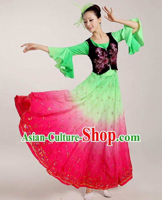 Chinese Folk Dancing Costume Complete Set for Women