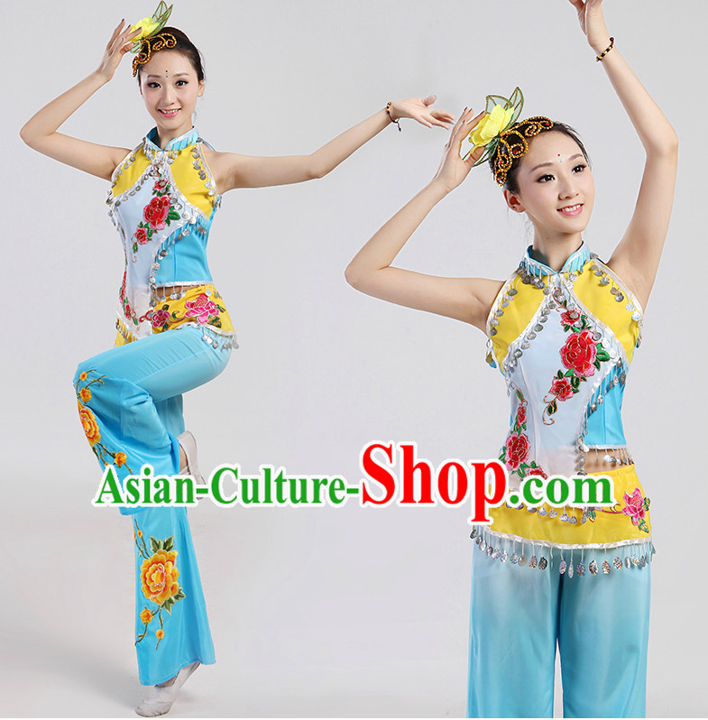 Chinese Folk Ribbon Dancing Costume and Headwear Complete Set for Women