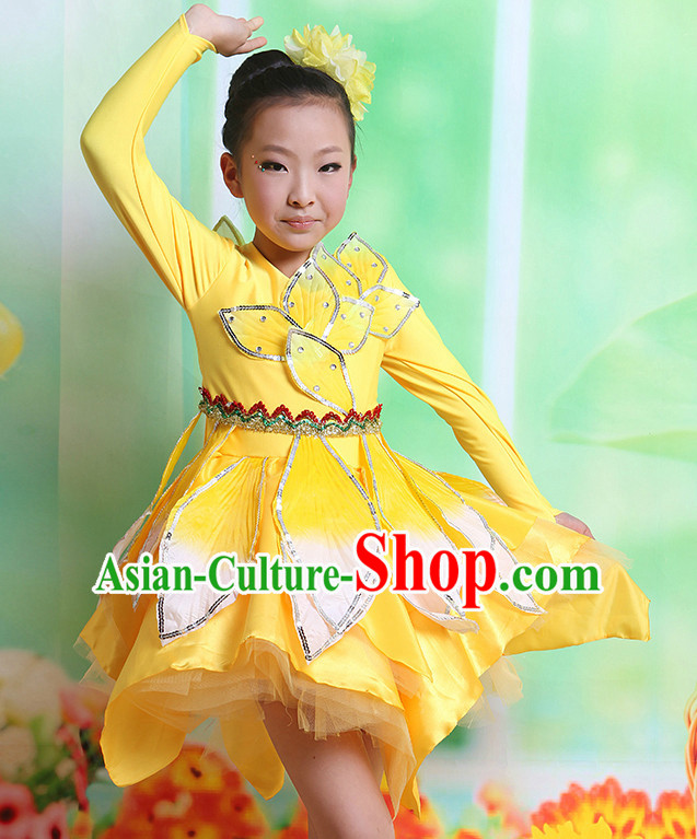Chinese Fan Dancing Costumes and Hair Accessories Complete Set for Kids