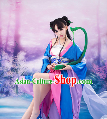 Chinese Traditional Fairy Halloween Costumes and Hair Accessories Complete Set for Women