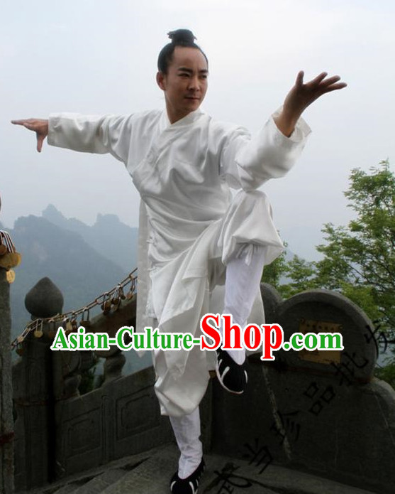Chinese Pure White Taoist Clothing for Men