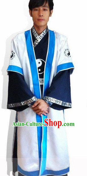 Chinese White and Blue Yin Yang Wudang Mountain Taoist Clothes Complete Set for Men