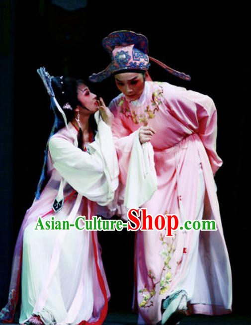 Asian Chinese Traditional Dress Theatrical Costumes Ancient Chinese Clothing Young Scholar Costumes and Hat Complete Set for Men or Women
