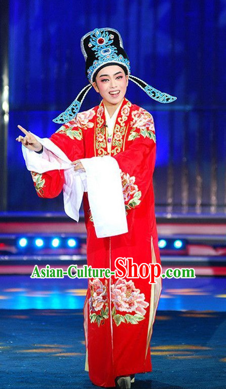 Lucky Red Asian Chinese Traditional Dress Theatrical Costumes Ancient Chinese Clothing Bridegroom Costumes and Hat