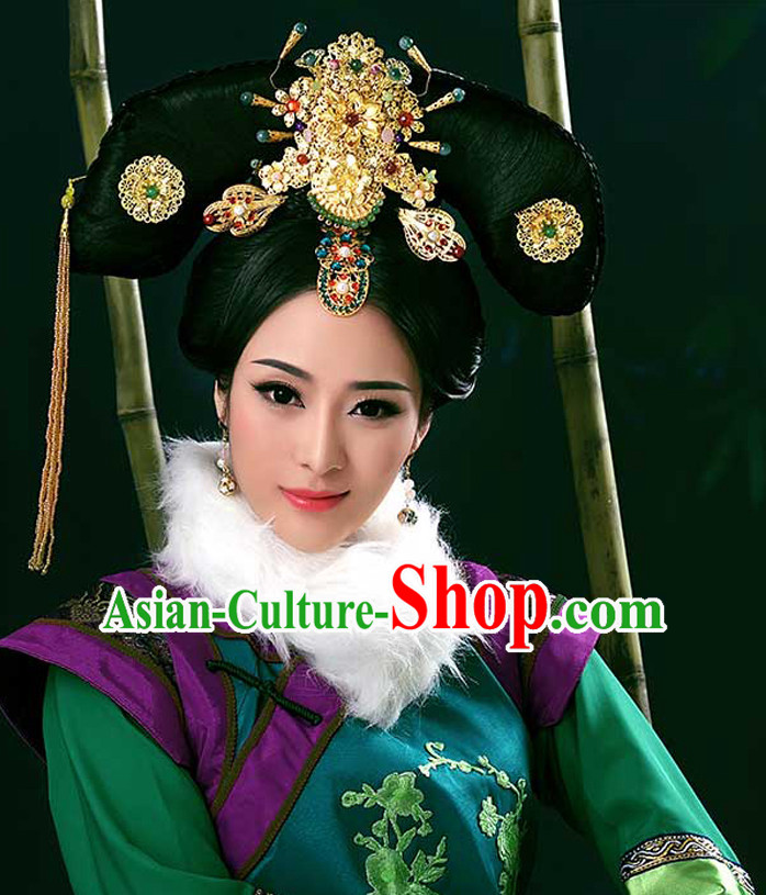 Chinese Ancient Empress Costumes and Hair Accessories Complete Set for Women
