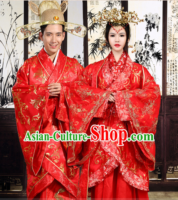 Chinese Ancient Brides andl Bridegroom Wedding Dresses Complete Set for Men and Women
