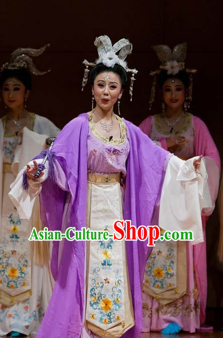 Asian Chinese Traditional Dress Theatrical Costumes Ancient Chinese Clothing Fairy Costumes and Hair Accessories