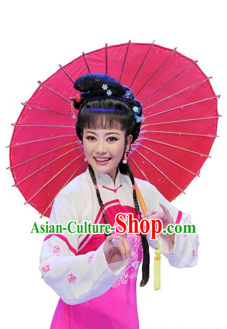 Traditional Chinese Theatrical Black Long Wigs and Accessories