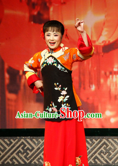 Chinese Traditional Dresses Theatrical Costumes Ancient Chinese Hanfu Housewife Costumes and Hair Accessories