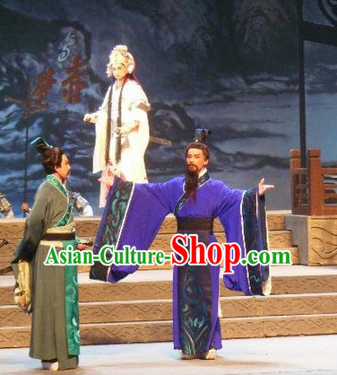 Chinese Traditional Dresses Theatrical Costumes Ancient Chinese Hanfu Prime Minister Blue Costumes