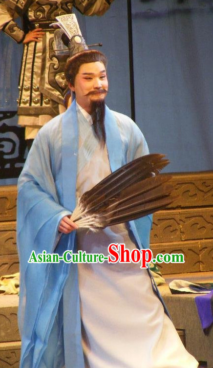 Chinese Traditional Dresses Theatrical Costumes Ancient Chinese Hanfu Zhuge Liang Costumes and Coronet