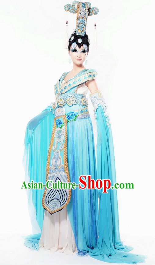 Chinese Traditional Dresses Theatrical Costumes Ancient Chinese Hanfu Empress Costumes and Hair Accessories Complete Set