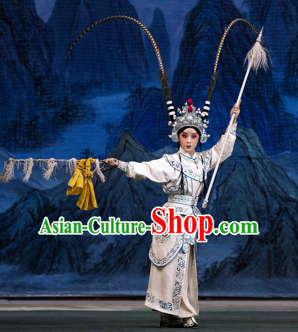 Ancient Chinese Beijing Opera General Costumes and Hair Accessories Complete Set