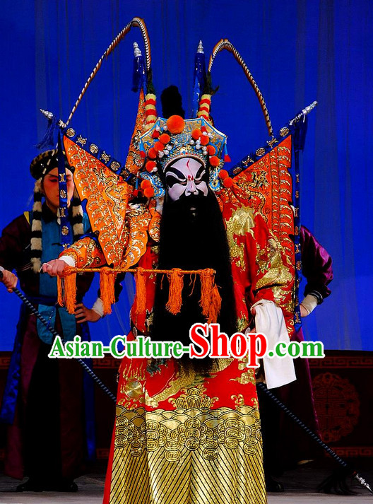 Ancient Chinese Beijing Opera Superhero Costumes and Hair Accessories Complete Set for Men