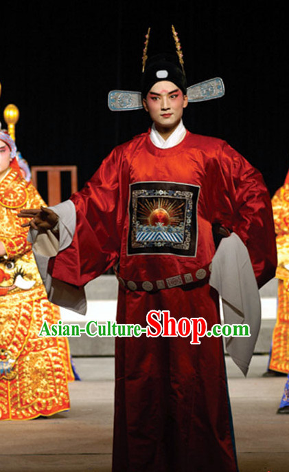Ancient Chinese Beijing Opera Official Costumes and Hat Complete Set for Men