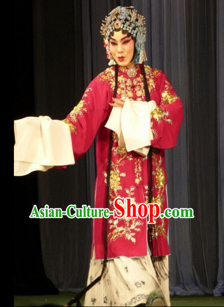 Traditional Chinese Peking Opera Costumes and Hair Jewelry Complete Set for Women