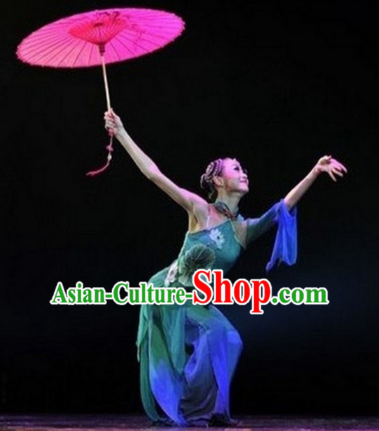 Chinese Umbrella Classical Dancing Costumes Complete Set for Women