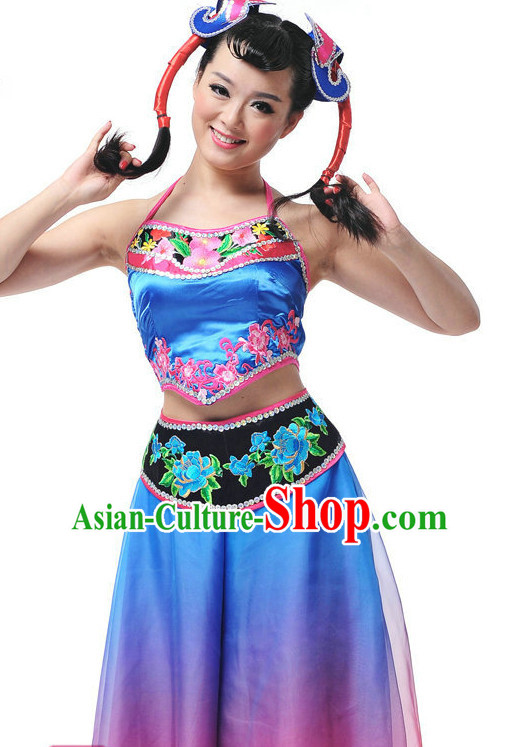 Chinese Folk Ethnic Minority Dancewear Costumes for Women