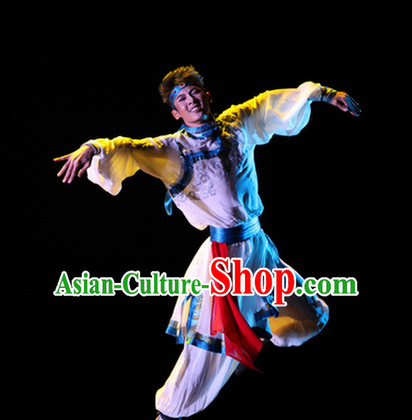 Beautiful Chinese Mongolian Dance Costumes and Headwear Complete Set for Men