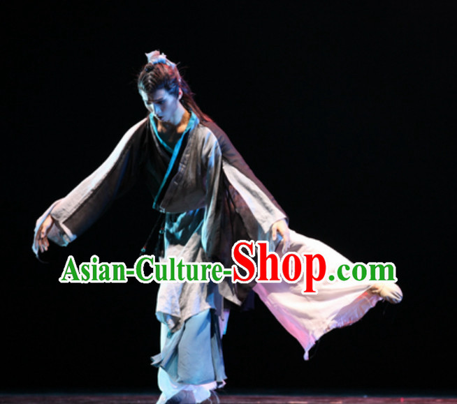 Beautiful Chinese Classical Dance Costumes and Headwear Complete Set for Men