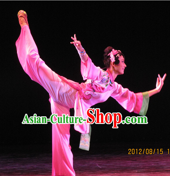 Chinese Folk Dance Fan Dance Costumes and Headpieces Complete Set for Women