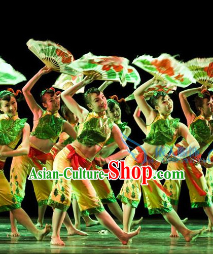 Stage Performance Chinese Folk Kids Dance Costumes and Headwear Complete Set