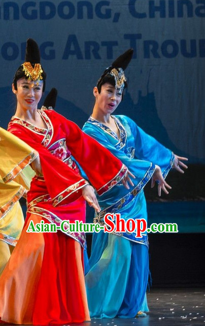 Chinese Palace Dancer Costume and Hair Accessories Complete Set