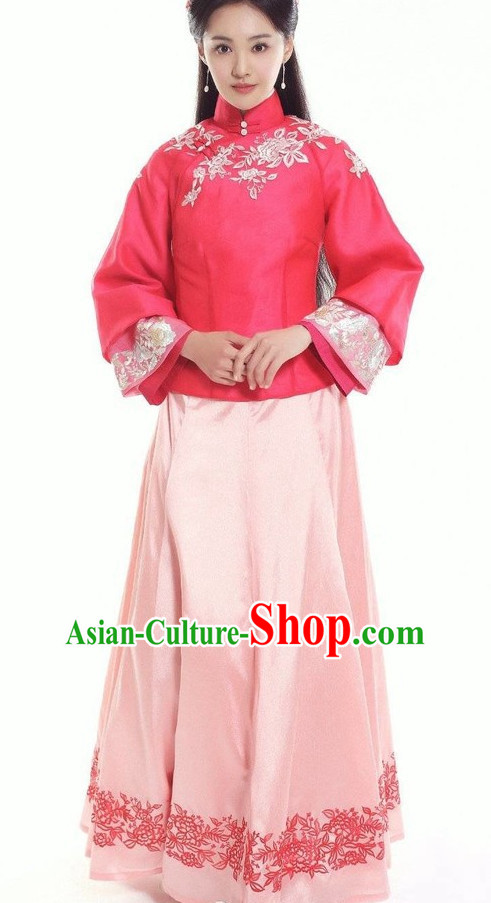 Chinese Traditional Minguo Noblewomen Costumes Complete Set