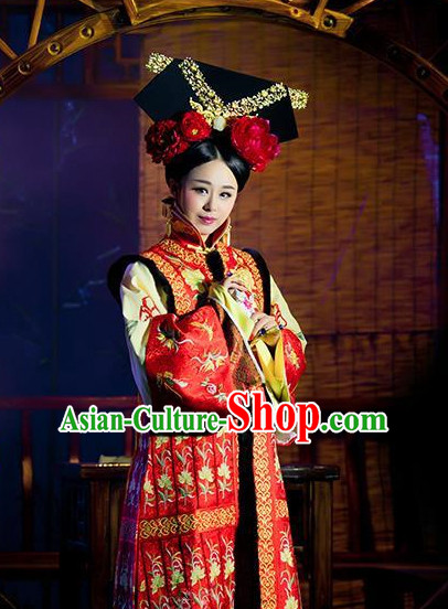 Chinese Traditional Empress Clothes and Hair Accessories Outfits Attire Complete Set for Women
