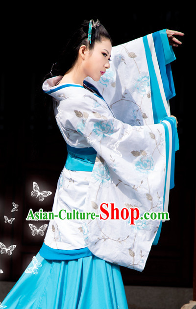 Chinese Traditional Han Fu Clothes and Hair Accessories Complete Set for Ladies