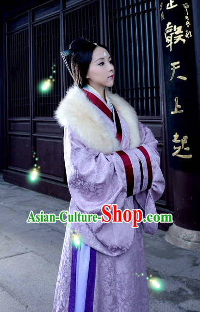 Chinese Traditional Queen Han Fu Clothes Oriental Costumes and Hair Accessories Complete Set for Ladies