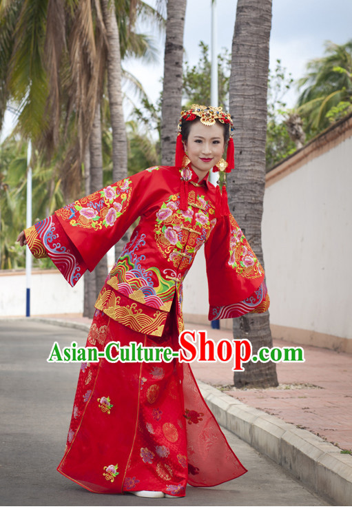 Most Beautiful Chinese Wedding Attire and Hair Accessories Complete Set for Brides