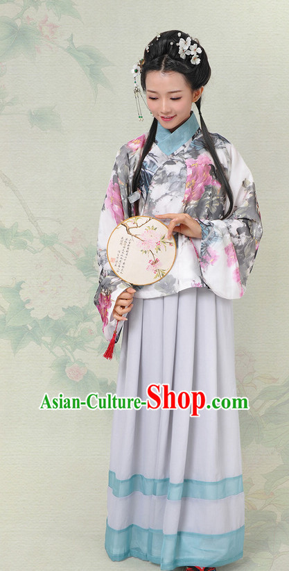 Chinese Hanfu China Shopping Asian Fashion Plus Size Clothing Clothes online Oriental Dresses Ancient Ming Dynasty Costumes and Hair Accessories Complete Set