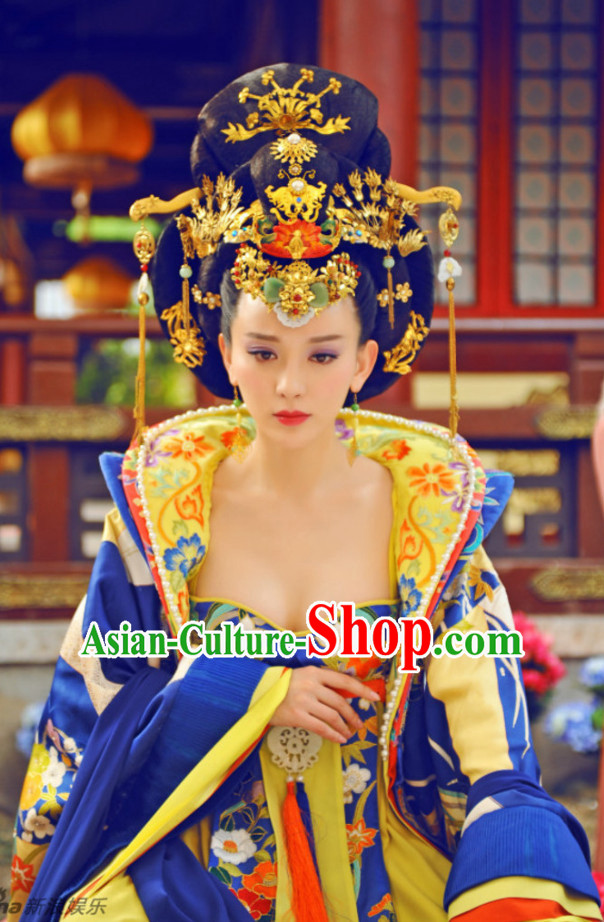 Handmade Chinese Princess Royal Imperial Wigs and Hair Accessories