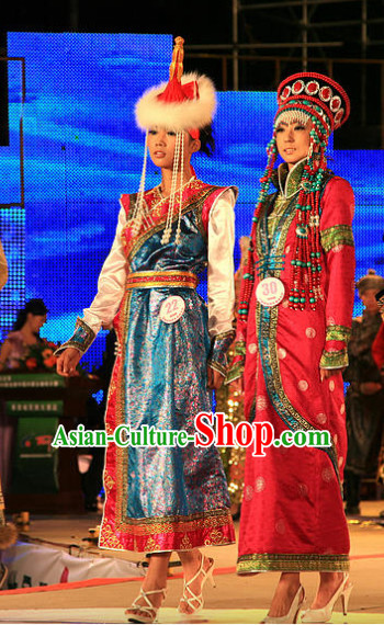Traditional Chinese Mongolian Clothes 2 Sets for Women