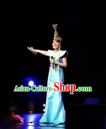 Traditional Chinese Mongolian Dress and Hat Complete Set for Women