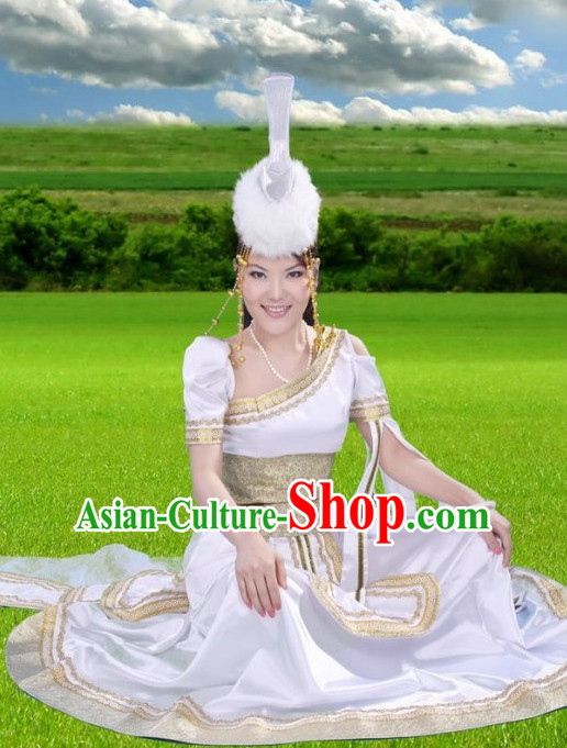 Traditional Chinese Mongolian Costumes and Hat Complete Set for Women