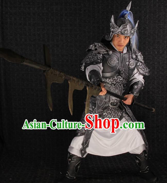 Ancient Chinese Superhero General Armor Costumes and Helmet Complete Set for Men