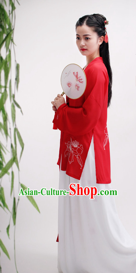 Lucky Red Ancient Chinese Embroidered Flower Lady Suit