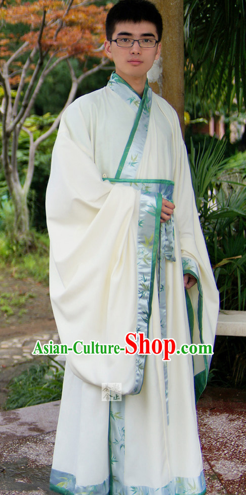 White Ancient Chinese Scholar Robe Complete Set