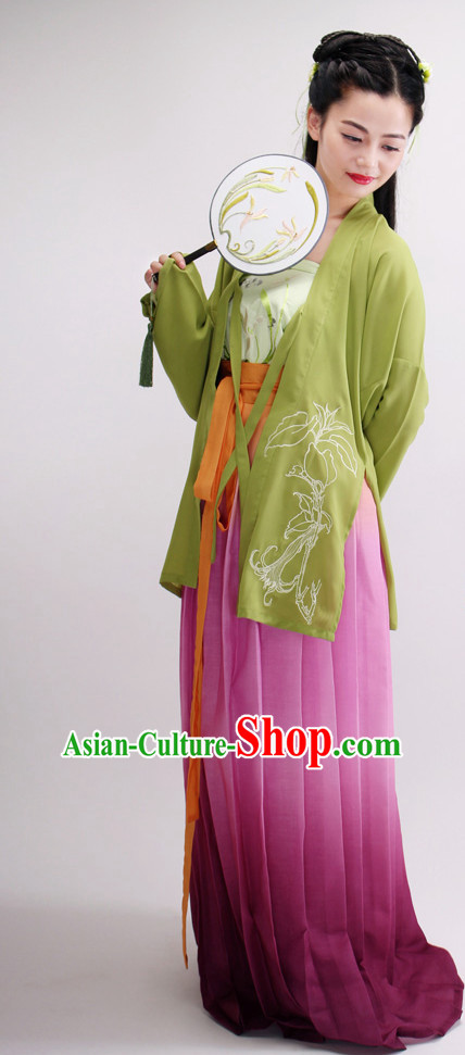 Ancient Chinese Classical Dancing Costumes and Fan Complete Set for Women