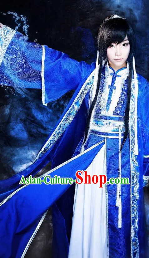 Blue Ancient Chinese Prince Cosplay Halloween Costumes Complete Set for Women